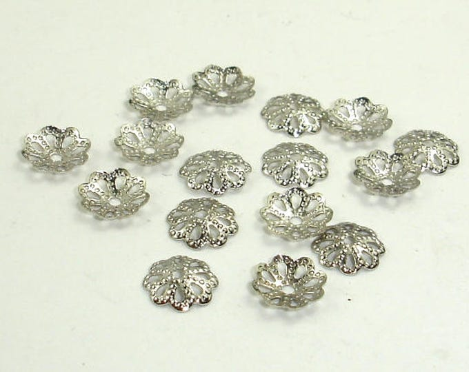 Bead Caps, Rhodium Plated, 6mm, 300 pcs, Hole 0.8mm (006851004)
