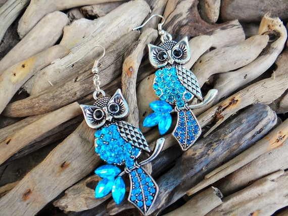 Wise Owl Rhinestone Silver Earrings Rhinestones Teal Blue Crystals Gems Bling Earring Pagan Wiccan Wicca Witch Harry Potter Magic Athena