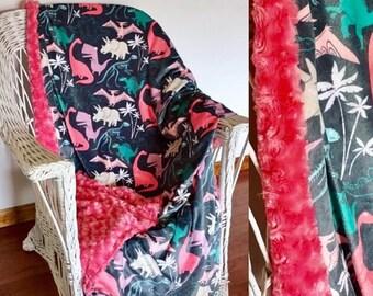 Spoonflower's Dinosauria (rose quartz) | SewPerfect Minky Blanket | Faux Fur Blanket | Toddler Bedding | Crib Blanket | Daycare Blanket