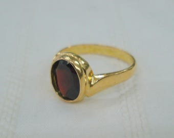 vintage 18kt gold ring garnet raktamani gemstone ring handmade jewelry