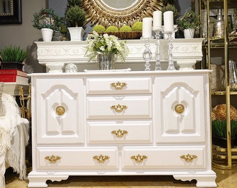 Pure White Credenza w/ Gold Drawer Pulls