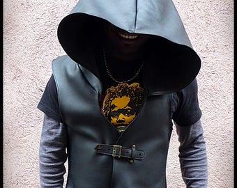 Leather hooded man sleeveless vest