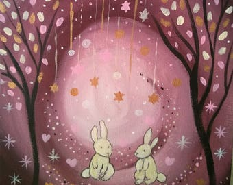 The garden of stars painting for room of child-acrylic