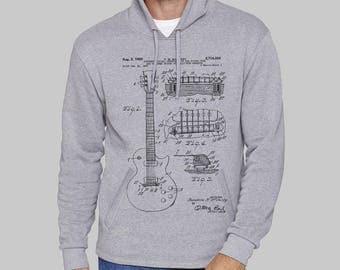 Gray Mens Pullover Hoodie, Full Moon, Gibson Guitar hoodie, sweatshirt for men, hoodies, sweatshirt, fleece, graphic hoodie