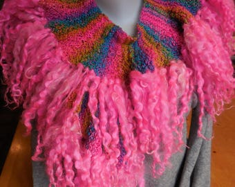 Super colorful hand knitted scarf