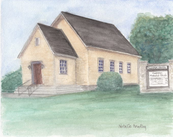 Featured listing image: Watercolor Painting of original Tuckston United Methodist Church Chapel in Athens, GA - 8x10 print