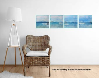 Abstract Seascape Painting Turquoise Water Tropical Island Modern Painting Secret Island Bahamas
