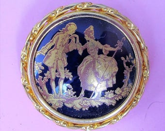Classic French Vintage 'Limoges' Porcelain 'La Reine' Brooch