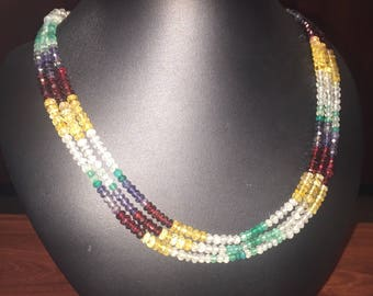 Vintage MultiGem Bead Necklace set with natural stones: citrins, garnets, emeralds, white sapphires.