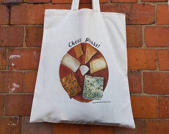 Cheese Board Tote bags by Alice Draws The Line, 100% recycled, reusable bag. An illustrated Cheese board bag perfect for cheese lovers!