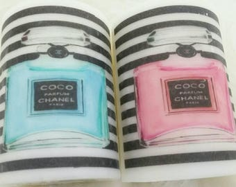 Designer Inspired Pink and Teal perfume bottle candle set, vanity candle, logo candle, personalized candles