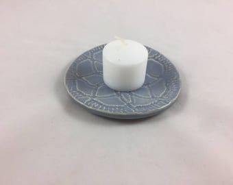 Small Ceramic Dish, Handmade, Candle Holder, Trinket Dish, Jewelry Dish, Hostess Gift, Soap Dish, Ring Dish, Small Blue Dish, Home Decor