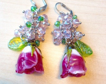 Earrings pink and green Lampwork Glass Beads, of exceptional quality