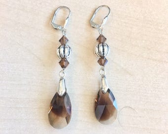 Brown and Silver earrings with Swarovski Crystal Teardrops
