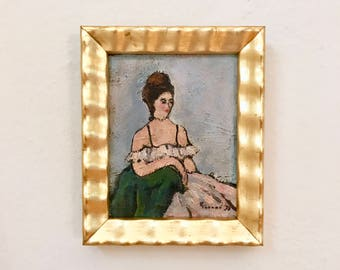 Parisian Lady Original Small Petite Antique Oil Painting Signed Framed