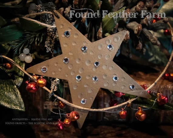 Handmade Gold Tin Star Ornaments Layered with Clear Rhinestone Jewels