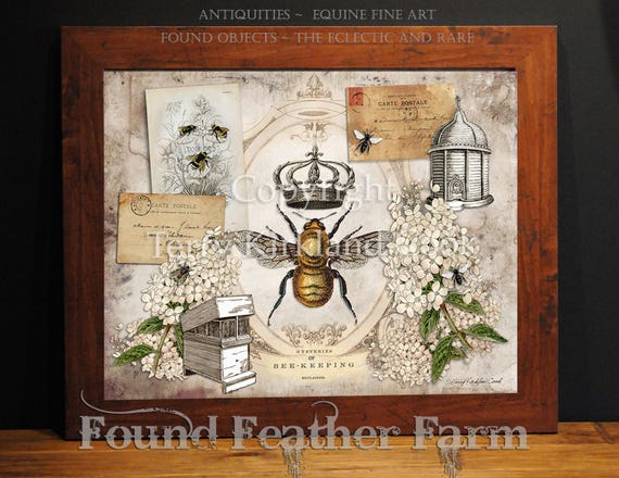 """The Queen Bee ~ Original Vintage Art Collage 20"""" x 24"""" Framed Giclee Print"""