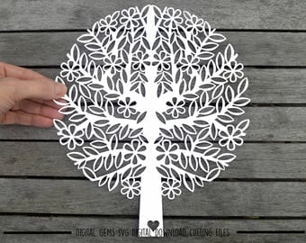 Tree paper cut svg / dxf / eps / files and pdf / png printable templates for hand cutting. Digital download. Small commercial use ok.
