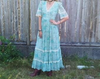 Vintage 70s Gunne Sax style maxi dress Small Medium