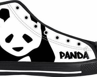 Panda Black and White High Top Shoes
