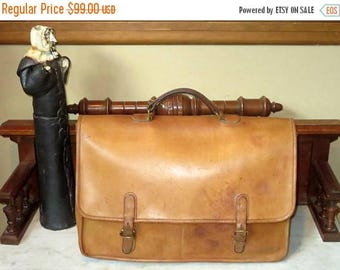 Back To School Sale Coach Wall Street Briefcase In British Tan Leather And Brass Hardware Style No. 5240 - Made in U.S.A. - Distressed