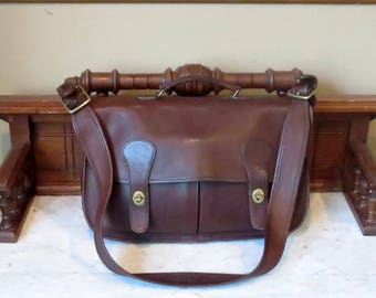 Spring Sale Coach Carrier Mahogany (Mocha ?) Leather Bag With Brass Hardware Style No 9800- Made In United States- VGC