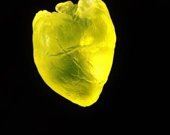 Glass heart sculpture