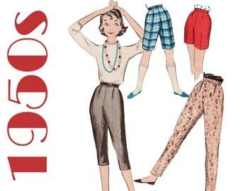 "1950s Capri Pants Pattern Tapered Pants Pattern ADVANCE 8595 UNCUT waist 26"" 1950s Shorts 1950s Pants Pattern Pedal Pushers Cigarette Pants"