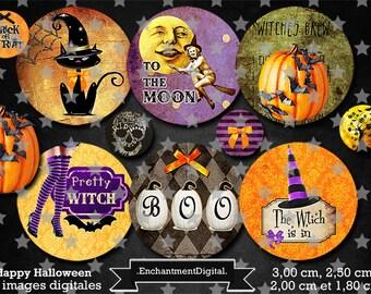 digital images * Halloween * witch cat pumpkin Hat vintage collage digital scrapbooking cabochon jewel