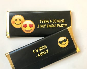 Emoji party, Emoji favors, emoji birthday party, personalized candy bar wrappers, emoticons, girls birthday favours, birthday invites, 24 ct