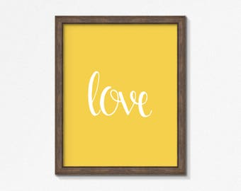 Mustard Print, Love, Yellow Print, Typography, Yellow and White Print, Wall Art, Square, Vertical Print, Instant Download, Printable