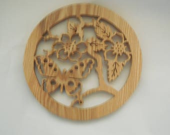 Oak butterfly and flowers plaque