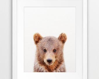 Bear Print, Woodland Nursery Decor, Bear Cub Photo, Brown Bear, Nursery Prints, Modern Animal Art, Woodland Animals, Nursery Printable Art
