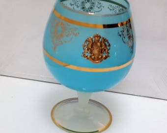 vintage french blue opaline vase with golden cameo