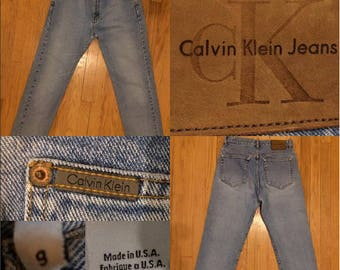 Vintage 1990's Calvin Klein High Waist Faded Sandblasted Easy Fit Button Fly Mom Jeans 100% Cotton Size 3