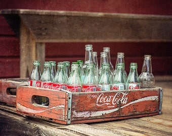 Rustic Wall Decor, Kitchen Wall Art, Red Wall Decor, Red Wall Art, Farmhouse Wall Decor, Coca Cola Sign, Americana Decor, Coca Cola Crate