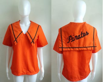 35%offJuly17-20 60s sailor cheerleader top size medium/large, 1960s pep squad nautical pirate top, gabardine canvas mascot orange shirt