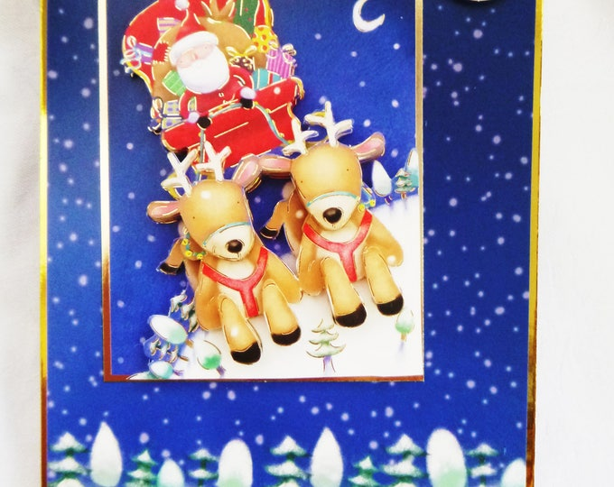 A 3 D Decoupage Christmas Card, Greeting Card, Santa With His Reindeer, Male or Female, Any age, Mum, Dad, Son, Daughter, Niece, Nephew