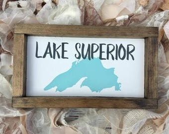 Lake Superior Wood Sign - Mini Wooden Lake Superior Sign - Lake Superior Wall Hanging - Great Lakes - Lake Lover Gift - Lake Superior Art