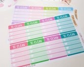 To Clean Checklist Boxes Planner Stickers