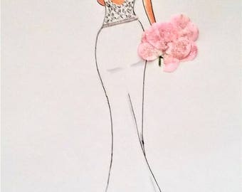 Gail- Bridal Illustration, White Dress- With Pink Flowers, 8x10 Print