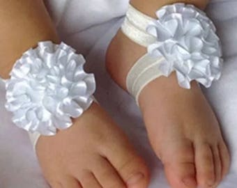 Baby barefoot sandals infant photo prop baby girl baby shower gift