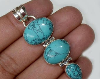 """50% SALE Marvelous Solid Silver Natural Tibetan Turquoise Gemstone 925 Sterling Silver 9 gm - 2""""inch Fashion Handmade Pendant Jewelry"""