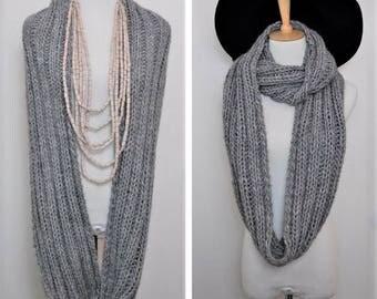 Grey Knit infinity scarf, Handmade Alpaca infinity scarf. wool knit scarf. Grey scarf. circle scarf, hand knit scarf, gift idea,
