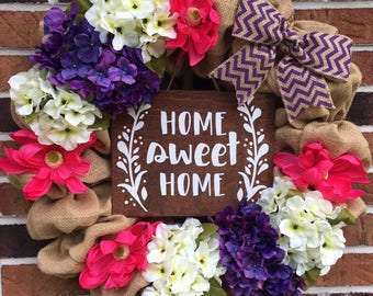 "Burlap ""Home Sweet Home"" Flower Summer Wreath"