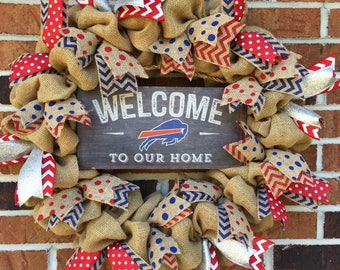 "Burlap ""Welcome to our Home"" Buffalo Bills Wreath"