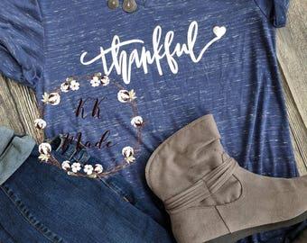 Thankful shirt, grateful thankful blessed, Thanksgiving shirt, cute fall shirt, blessed mama shirt, women's fall shirt, grateful shirt