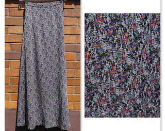 Vintage Sparkle Maxi, Metallic Silver Knit, Varigated Multi Color, XS, Long Skirt, Party, Festival, Costume, Hippie, Boho