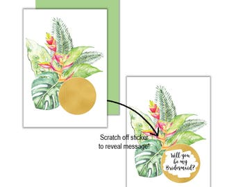 Gold Tropical Will You Be My?... Scratch Off Card, Will you be my Bridesmaid, Will you be my Maid of Honour, Scratch Off Greeting Card