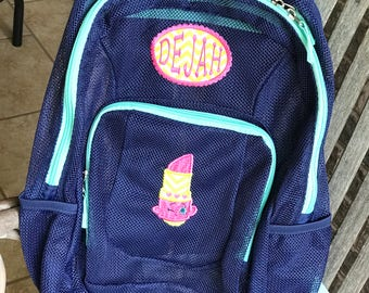 Monogrammed Backpack | Shopkins | Lipstick Backpack | Shopkins Backpack | Mesh Backpack | Monogrammed Mesh Backpack | Disney Bookbag